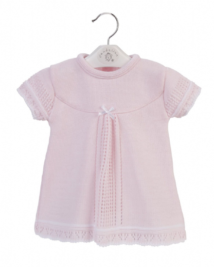 Pink Short Sleeve Knitted Dress